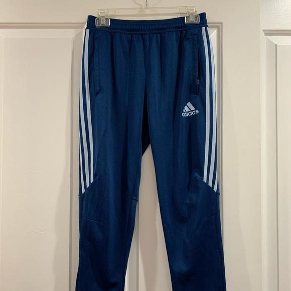 blue adidas track pants